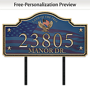 """Home Of The Free"" Personalized Outdoor Address Sign"