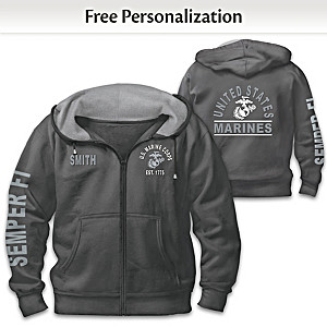"""Ready At The Reveille"" USMC Personalized Men's Hoodie"