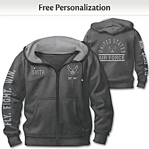 """Ready At The Reveille"" USAF Personalized Men's Hoodie"