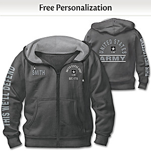"""Ready At The Reveille"" U.S. Army Personalized Men's Hoodie"