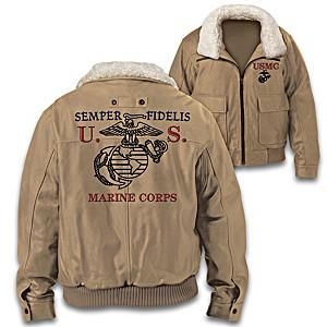 """USMC Semper Fidelis"" Men's Twill Bomber Jacket"