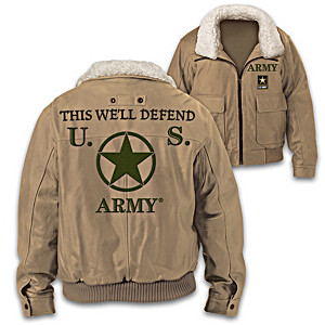 """U.S. Army This We'll Defend"" Men's Twill Bomber Jacket"