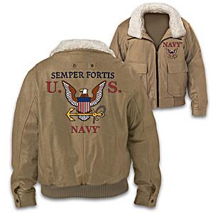 "U.S. Navy ""Semper Fortis"" Men's Twill Bomber Jacket"