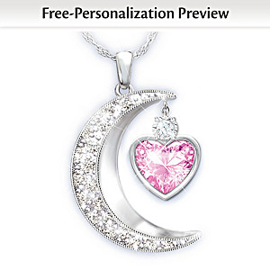 Moon-Shaped Personalized Pendant Necklace For Granddaughter