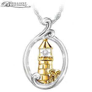 """Light Of Hope"" Brilliant Motions Diamond Pendant Necklace"