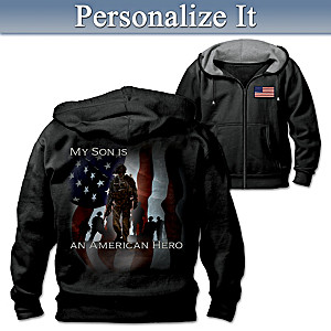 Men's Military Hoodie Personalized With Embroidered Phrase