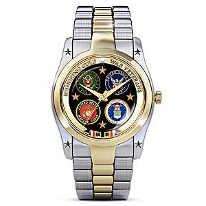 Desert Storm Men's Watch Featuring 4 Military Branch Emblems