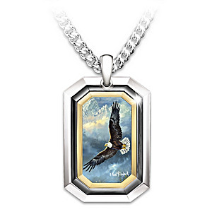 Grandson Dog Tag Necklace With Ted Blaylock Eagle Artwork