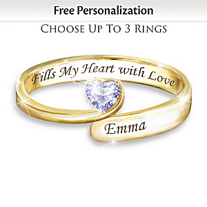"""""""Forever In A Mother's Heart"""" Personalized Birthstone Ring"""