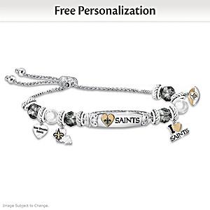 """""""I Love My Saints"""" Personalized Women's Charm Bracelet"""
