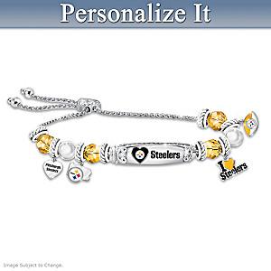 """I Love My Steelers"" Personalized Women's Charm Bracelet"