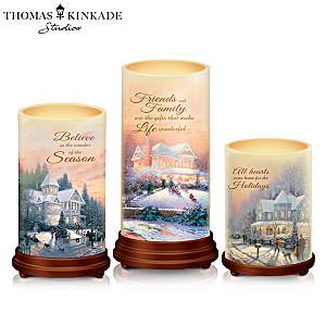 "Thomas Kinkade ""Pillars Of Light"" Waxed Flameless Candle Set"