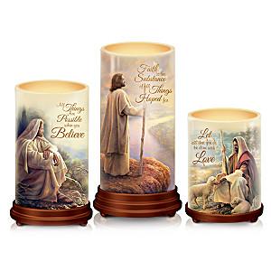 """Pillars Of Faith"" Candle Set With Greg Olsen Biblical Art"