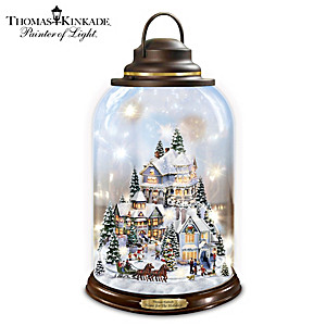 "Thomas Kinkade ""Home For The Holidays"" Illuminated Lantern"