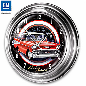 1957 Chevrolet Bel Air Illuminated Atomic Wall Clock