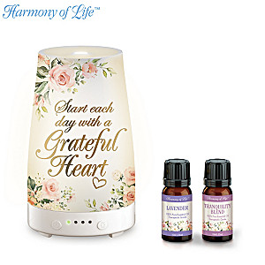 """Grateful Heart"" Essential Oils And Illuminated Diffuser Set"