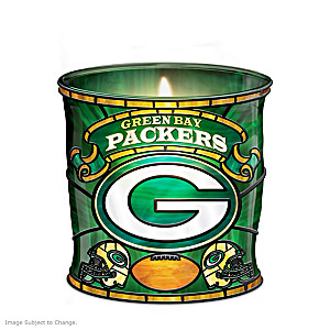 Green Bay Packers Stained Glass Candleholder