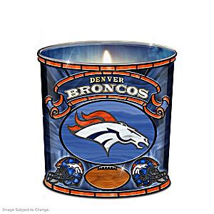 Denver Broncos Stained-Glass Candleholder
