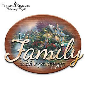 "Thomas Kinkade ""The Gift Of Family"" Wooden Wall Decor"