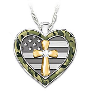 """My Country, My Faith"" Women's Diamond Pendant Necklace"