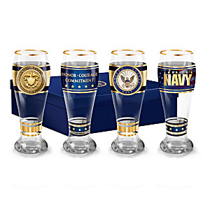 """Navy Pride"" Four-Piece Pilsner Glass Set With 12K Gold Rims"