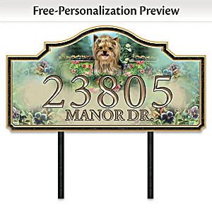 """Warm Yorkie Welcome"" Personalized Address Sign"