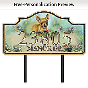 """Warm Chihuahua Welcome"" Personalized Address Sign"
