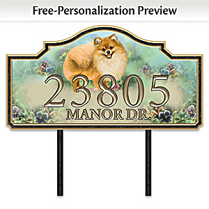 """Warm Pomeranian Welcome"" Personalized Address Sign"