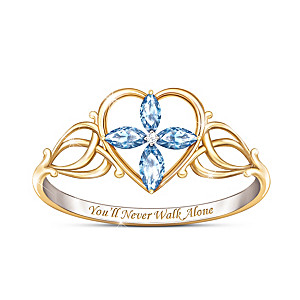 """""""You'll Never Walk Alone"""" Topaz And Diamond Cross Ring"""
