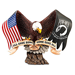 """Never Forgotten"" POW-MIA Hand-Painted Eagle Sculpture"