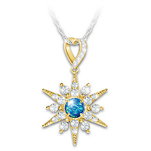 """""""Forever Shine"""" Created Opal Remembrance Pendant Necklace"""