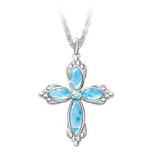 """Heaven's Blessing"" Larimar Gemstone & Blue Topaz Necklace"