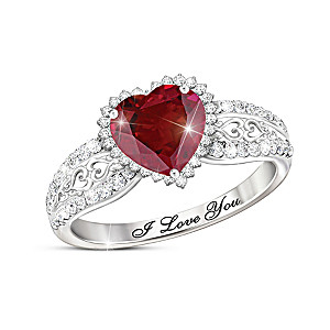 """With All My Heart"" Women's Ruby And White Topaz Ring"