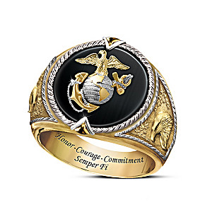 """Honor, Courage And Commitment"" Men's USMC Tribute Ring"