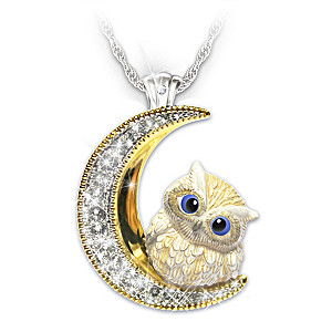 """""""Granddaughter Owl Always Love You"""" Necklace With Crystals"""