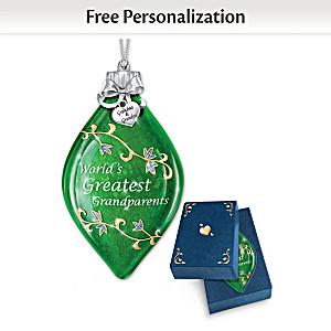 Illuminated Glass Ornament Personalized For Grandparents