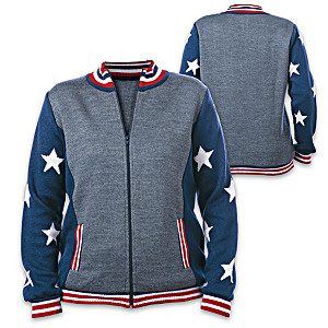 """Star Spangled Pride"" Acrylic Intarsia-Knit Women's Sweater"