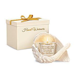 Porcelain Angel Wings Remembrance Candleholder Set