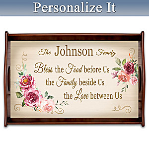 """""""Family Celebrations"""" Personalized Wooden Serving Tray"""