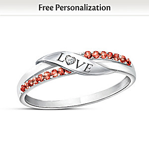 """""""Love"""" Diamond Ring With Your Crystal Birthstones"""