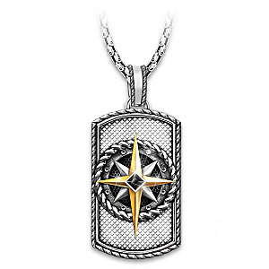 """""""Compass Of Faith"""" Dog Tag Pendant Necklace For Son"""