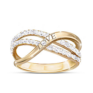 """Dance Of Love"" Engraved Ring With 2 Dozen Genuine Diamonds"