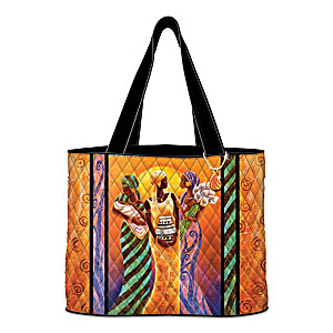 """Sisters Of The Sun"" Quilted Tote Bag With Keith Mallett Art"