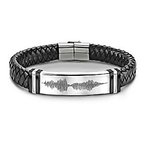 """""""I Love You"""" Sound Wave Design Leather Bracelet For Grandson"""