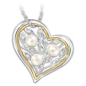 """""""Always Loved"""" Necklace For Daughters With 3 Cultured Pearls"""