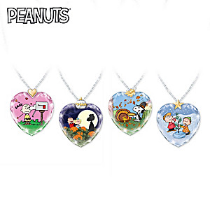 PEANUTS Holidays Crystal Heart-Shaped Pendant Necklace Set