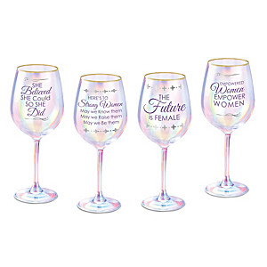 Strong Women Inspirational Wine Glass Set With 12K Gold Rims