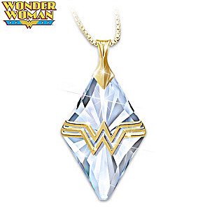 Wonder Woman 18K Gold-Plated Engraved Crystal Necklace