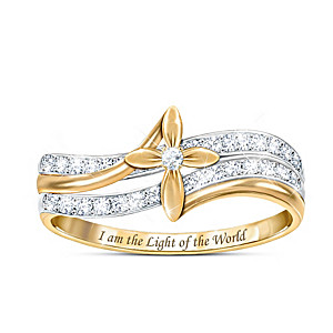 """Engraved """"God Is The Light"""" 25-Diamond Cross Ring"""