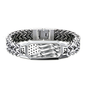 """American Spirit"" Flex-Chain Bracelet With Etched Flag"
